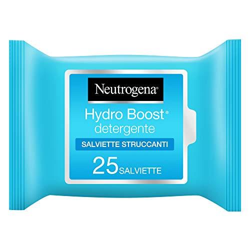 Neutrogena Salviette Struccanti, Hydro Boost, Idratanti, con Acido Ialuronico, Lozione Non Grassa, Confezione da 25