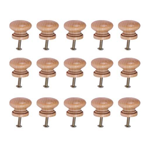 SUPVOX Pomoli in Legno Mobili per Mobili Pomelli per Cassetti Tira Maniglie con Vite per Arredamento Hotel Ristorante Caffetteria (Stile Medio) 15 Pezzi