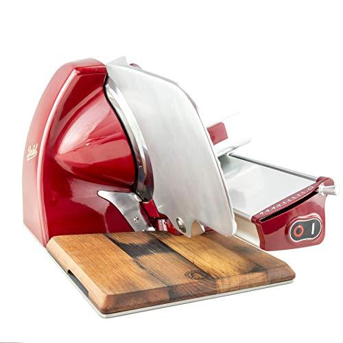 Palatina Werkstatt ® Bundle | Berkel - Elektrische Aufschnittmaschine Home Line 250 - Rot, Modell: 2020 + von Hand gefertigtes, passgenaues Fassholzbrett