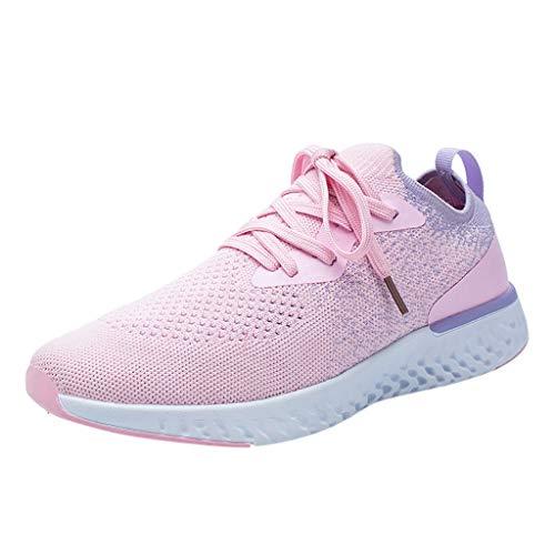 Deloito Damen Sneaker Fliegendes Weben Socken Turnschuhe Mädchen Lässig atmungsaktiv Mesh Schnürschuh Sport Schuhe Hochschule Student Laufschuhe (Rosa,40 EU)