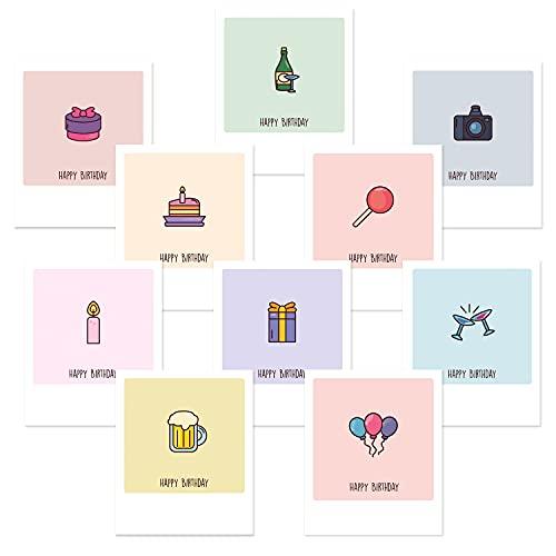 dedeco 20x Postkarten Karten Grußkarte im Polaroid-Format, Spruchkarten, Geschenkkarte, Motivkarte Glückwunschkarte Kartenset, Themen: Geburtstag, Happy Birthday 12x10 cm
