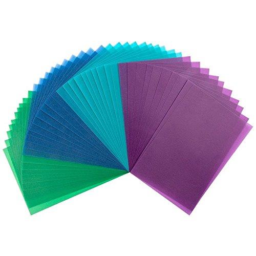 40 Transparentpapiere, 10cm x 15cm, 130 g/m² | buntes Papier zum Basteln, Scrapbooking, Kartengestaltung, DIY u.v.m. (Grün, Blau & Violett)