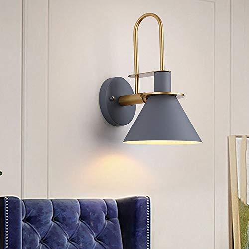 Creativa Moderna Applique da Parete E27 Lampada da Parete Interno Luce da Parete da Comodino LED Nordico Stile Paralume in Metallo Art Deco per Camera da Letto Soggiorno Corridoio Scale,Grigio