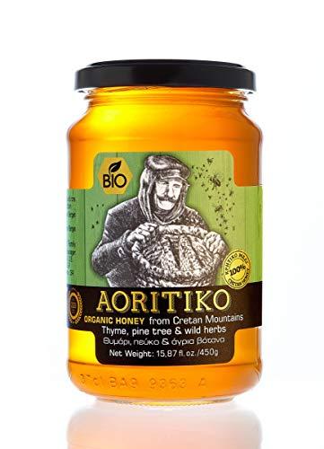 Griechischer Bio Honig aus kretischem Thymian, Pinien und Wildkräutern – aus Kreta – Natürlicher Reiner unvermischter Honig – Aoritiko - 450g