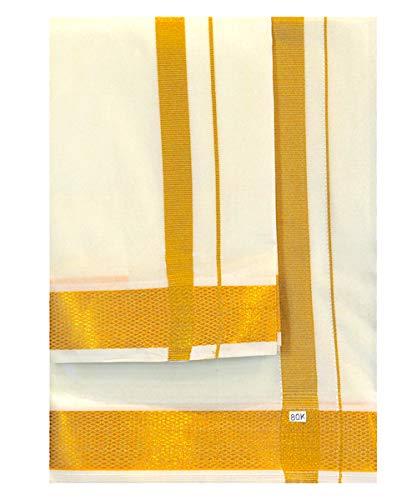 My Fair Lady Veshti (Dhoti) con velcro (adhesivo) con borde Zari dorado...