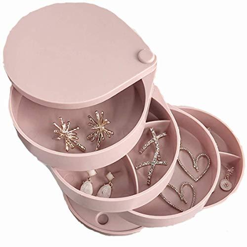 Siunwdiy Große Kapazität Mult rotierenden Temperament Exquisite Ring-Box Ohrringe Ohrringe Ohrclips einfache Schmuckschatulle Aufbewahrungsbox Schicht,Rosa