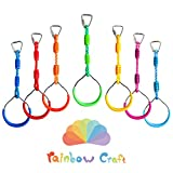 Rainbow Craft 7-Pack Colorful Ninja Rings - Gymnastic Rings, Swing Bar...