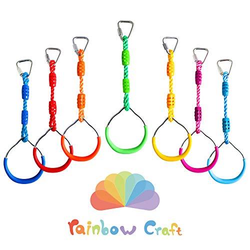 Rainbow Craft 7-PACK Colorful Ninja Rings - Gymnastic Rings, Swing Bar Rings, Monkey Rings for Backyard Ninja Warrior Obstacle Slackline Kits
