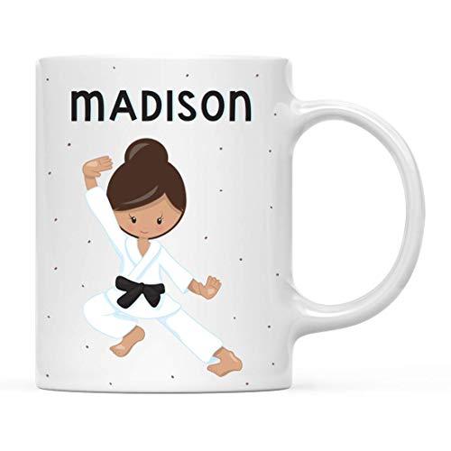 N\A Personalisierte Kindermilch heiße Schokolade Tasse, braunhaarige Mädchen Karate Pose 5, 1-Pack, benutzerdefinierte Kinder Geburtstag Weihnachtskaffeetasse