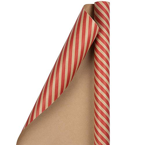 Striped Christmas Wrapping Paper - Gift Wrap - 25 Sq Ft - Brown Kraft & Red Stripes - Roll Sold Individually