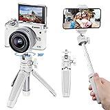 ULANZI MT-08 Trípode de poste de extensión, Mini Selfie Stick Trípode Soporte Mango para iPhone 11 Pro Max Samsung Google Huawei Smartphone Canon G7X Mark III Sony RX100 VII A6400 Cámaras (Blanco)