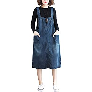 Women's Midi Length Long Denim Jeans Jumpers Overall Pinafore Dress Skirt