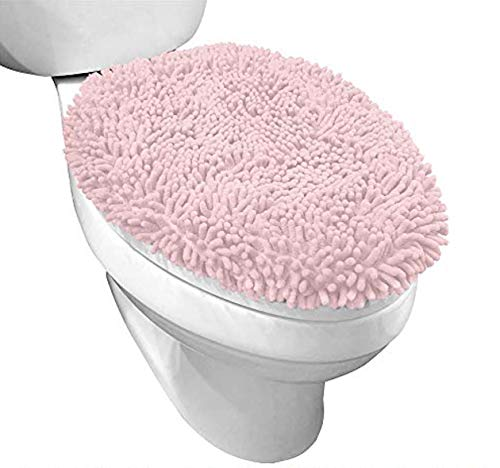 Gorilla Grip Original Shag Chenille Bathroom Toilet Lid Cover, Many Colors, 19.5x18.5 Inches, Large Machine Washable, Soft Plush Fabric Covers, Fits Most Size Toilet Lids for Bathroom, Light Pink