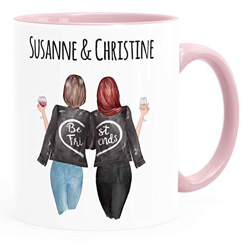 SpecialMe® Tasse beste Freundin personalisierbar, anpassbares Geschenk Freundschaft Best Friends 2 Seiten inner-rosa Keramik-Tasse