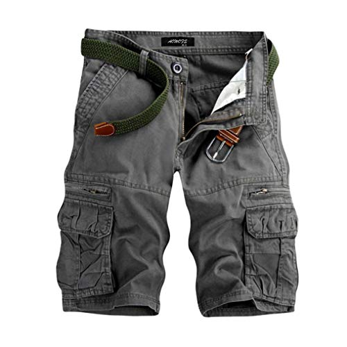 TEBAISE Pants Pure Color Shorts Herren Outdoor Taschen Strand Arbeit Hosen Cargo Pant 3/4 Herren Cargo Short Hose (Grau,34)
