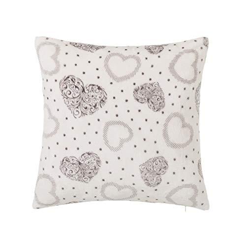 Cojín de corazón Gris de Microfibra romántico para Dormitorio de 45x45 France - LOLAhome