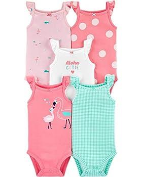 Carter s Baby Girls  5 Pack Tank Bodysuits  6 Months Flamingo