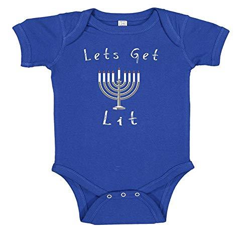 Ink Trendz Lets Get Lit Hanukkah Baby Body Suit Royal Blue