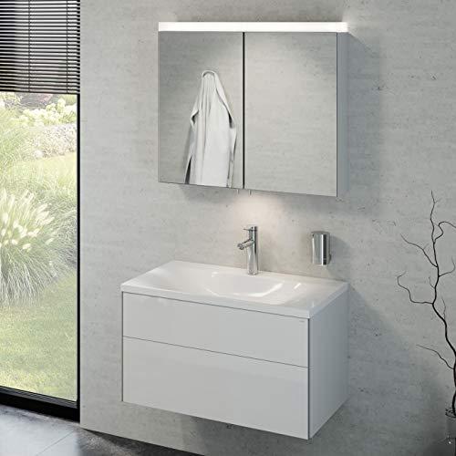 Keuco Badmöbelset mit Waschtisch, Waschbeckenunterschrank mit Frontauszug, LED Spiegelschrank dimmbar, Badezimmermöbel Set mit Spiegelschrank, Badmöbel Set mit Waschbecken, Breite 80cm Royal Reflex
