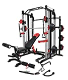 MiM USA Full Gym Set of Functional Trainer Smith Machine Power Cage & Adjustable Weight Bench...