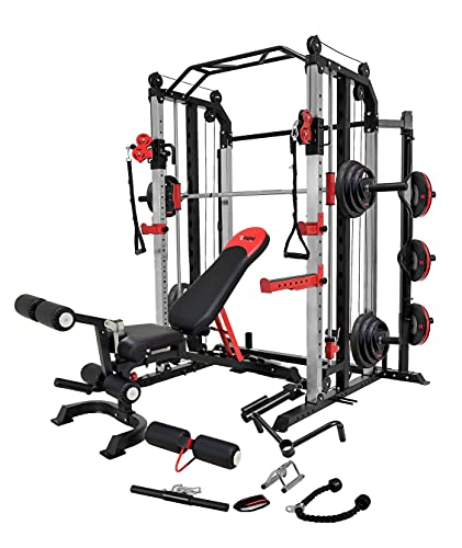 MiM USA Full Set of Functional Trainer Smith Machine Power Cage & Adjustable Weight Bench W/Leg Extension All-in-One Complete Home Gym Machine Strength Master 1001