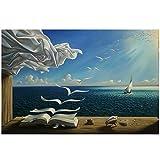 Salvador Dali Pittura a Olio The Waves Book Dipinti murali di Barche a Vela su Tela Poster e Stampe Immagini di Arte della Parete Stretch e Cornice pronta per Essere appesa