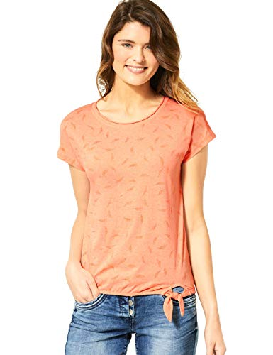 Cecil Damen 314983 TOS Solid Leaf Burn Out Shape T-Shirt, Cantaloupe orange, Medium