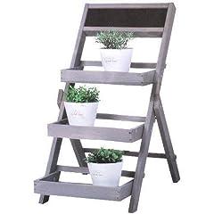 DRULINE Flower Ladder Plant Staircase Flower Shelf Grijs van hout 40 cm x 71 cm x 60 cm*