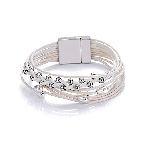 New Trendy Heart Charm Alloy CCB Beads Multilayer Geniune Leather Cord Magnetic Clasp Bracelets Bangles Women and Men Jewelry - ( Metal Color: Beige )