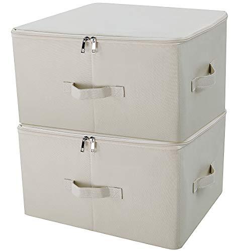 iwill CREATE PRO Großer zusammenklappbarer Reißverschlussdeckel unter Bettablagen, Aufbewahrungswürfel für Schrank, Beige, 2er Settischer Aufbewahrungsbehälter mit Deckel, beige, Packung 2