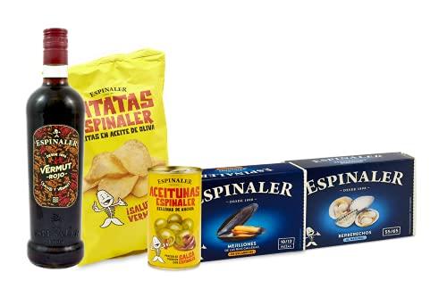 Espinaler cesta gourmet aperitivo | Pack regalo con vermut rojo, patatas fritas, aceitunas rellenas de anchoa, berberechos y mejillones