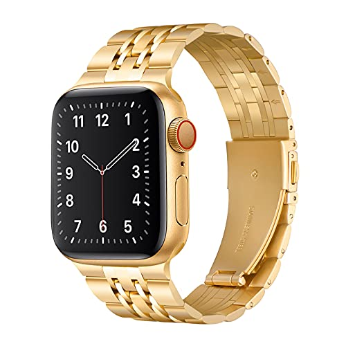 QAZNZ Metal Bracelet Compatible with Apple Watch Bracelet 44 mm 42 mm Seven Beads Stainless Steel Replacement Strap for iWatch Series 6 & 5/4/3/2/1, SE (42 mm 44 mm, Gold)