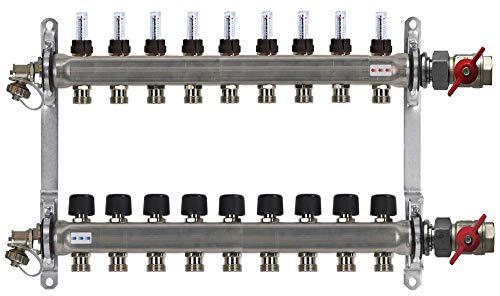 Buderus Heizkreisverteiler Fußbodenheizung HVE-FD-AK mit Durchflussmengenmesser für 2 bis 16 Heizkreise, Heizkreise/Baulänge:9 HK / 650 mm