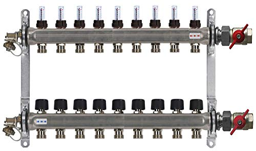 Buderus de calefacción de circuito de distribución de calefacción por suelo radiante HVE-FD-AK con flujo de cantidades de cuchillo 2 - 16 termotransmisores círculos