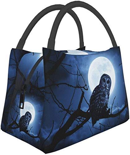 Bolsas de asas multifuncionales para el almuerzo con árbol de luna y búho de Halloween, bolsa térmica reutilizable, contenedor de almuerzo, bolsa aislante portátil