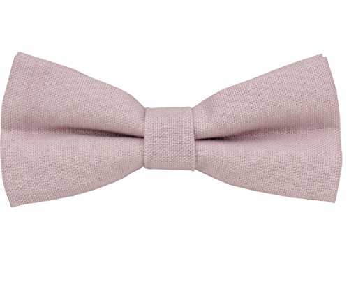 Mens Charm Solid Linen Bow Ties - Classic Pretied Bowties - Wedding (Dusty Rose)