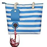 YYZLL Sac de plage pour vin avec distributeur dissimulé, compartiment isolé et grand sac de transport pour le vin, bleu