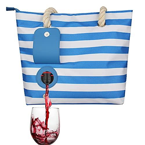 YYZLL Strand Wein Purse Wein-Einkaufstasche mit verstecktem Spender Strandtasche versteckten Isolierfach Großem Wein Trage Tragetasche,Blau