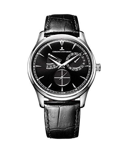 Orologio automatico CHRONO UNIVERSEL HARMONIE quadrante bianco, indicazione della riserva di carica, cinturino in pelle, vetro zaffiro