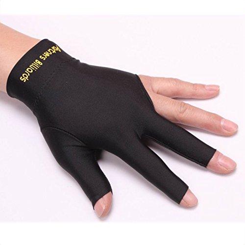 SUNERLORY - Guantes de billar y piscina de 3 dedos de licra elástica, se adapta tanto a hombres como a mujeres, mano derecha o izquierda, negro