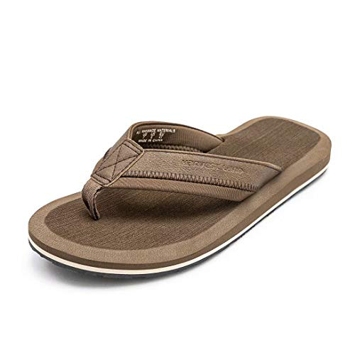 Mens Thong Sandals Beach/Pool Flip Flops Adults Comfy Arch Support Open Toe Summer Shoes for Big Youth,Brown,Size 7