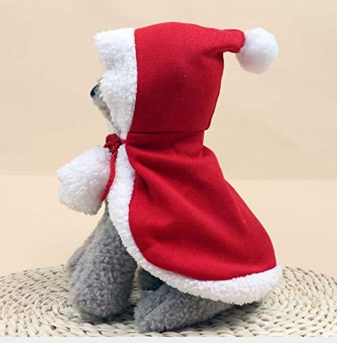 Kungfu Mall, 1 set di mantello di Natale per animali domestici, mantello di Natale regolabile per Babbo Natale e gatto