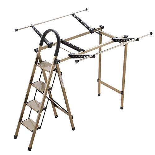 MMAXZ Escaleras Plegables Taburete Plegable para Adultos con Capacidad de 330 LB, 3 Pasos con Rejilla de Secado, Limpieza de la Cocina Escaleras con Pedales Anchos con Almohadilla Antideslizante