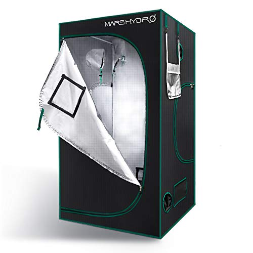 MARS HYDRO Grow Tent 4'x4' Reflective 1680D Canvas Mylar Hydroponic Indoor Growing Tents 48'x48'x80' with Observation Window for Indoor Plants Growing Grow Room Greenhouse