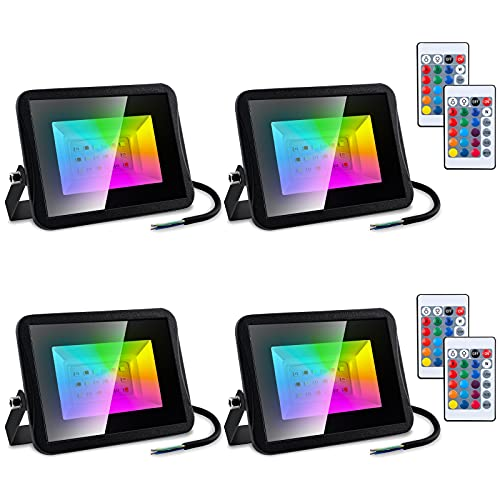 Rotemion Foco 4er 10W RGB con Control Remoto, LED Reflector Exterior Interior, 16 Colores, 4 Modos, Función de Memoria, luz Impermeable IP66, Para Decoración de Patio Trasero de Fiesta en el Escenario