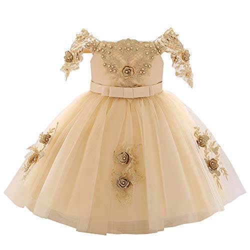 LSHEL Baby Mädchen Kleid Kinder Taufe Kleider Party Brautkleider, Champagner, 12-18 Monate
