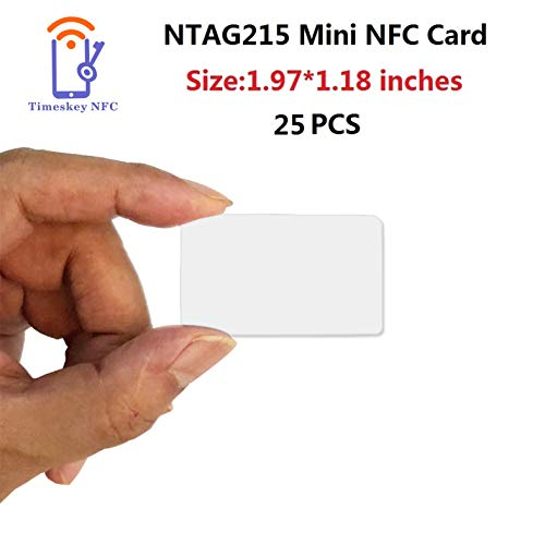 25PCS NFC Mini Card NTAG215 Chip NFC Tags 100% Compatible with Amiibo and TagMo, Blank PVC Cards Much Smaller Than Credit Card,Size: 1.97 X 1.18 inches,5 X 3CM, by TimesKey