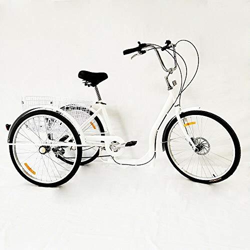 26 Zoll Dreirad für Senioren - Erwachsenendreirad,3-Rad Fahrräder,6-Gang Dreirad für Erwachsene,3 Räder Fahrräder für Erwachsene Adult Tricycle Comfort Fahrrad für Outdoor Sports Shopping