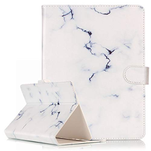 MYTHOLLOGY Universal 8 inch Tablet Case, Marble Design PU Leather Protective Cover with Kickstand & Card Slots Case for Acer Iconia One 8 B1-850 /Acer Iconia One 8 B1-860 - White