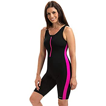 Dolfin Aquashape Women s Zip-Front Swim Aquatard Size  22 Black/Pink